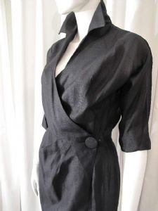 1950's Black silk shantung vintage wrap dress **SOLD**
